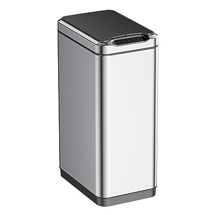 Delightful EKO 92775 1 Phantom Motion Sensor Touchless Stainless Steel Trash Can | 50  Liter