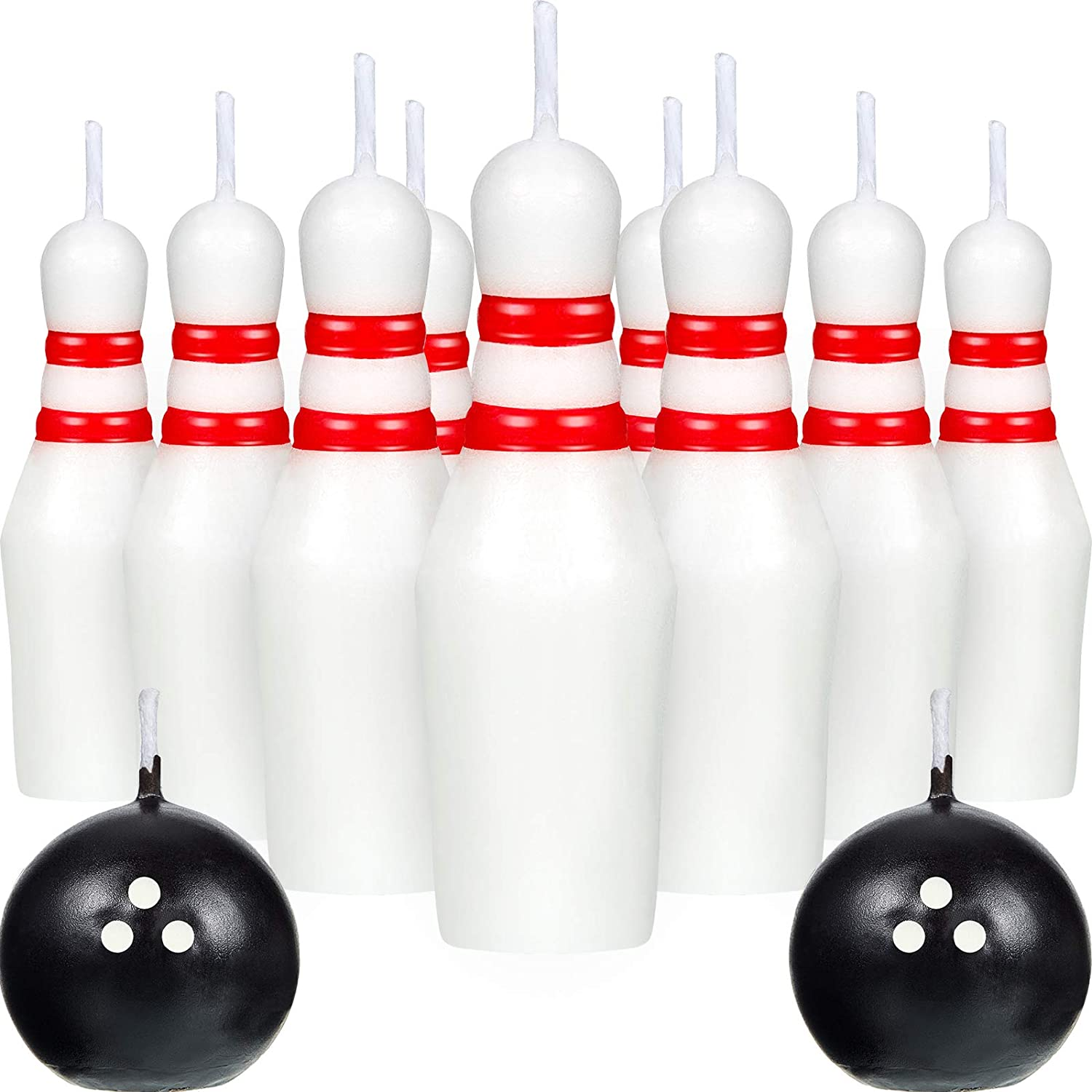 Bowling Candle Set, Including Ball Candles and Bowling Pins Candles Sports Cake Candles for Wedding Birthday Party Supply (14)