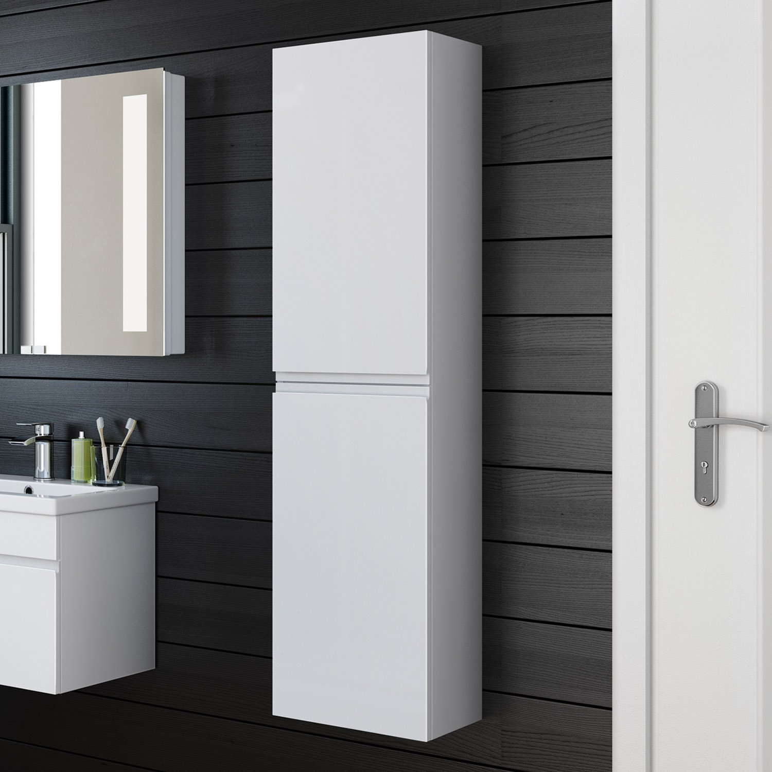 Slim white gloss bathroom wall cabinet bar cabinet for Bathroom wall