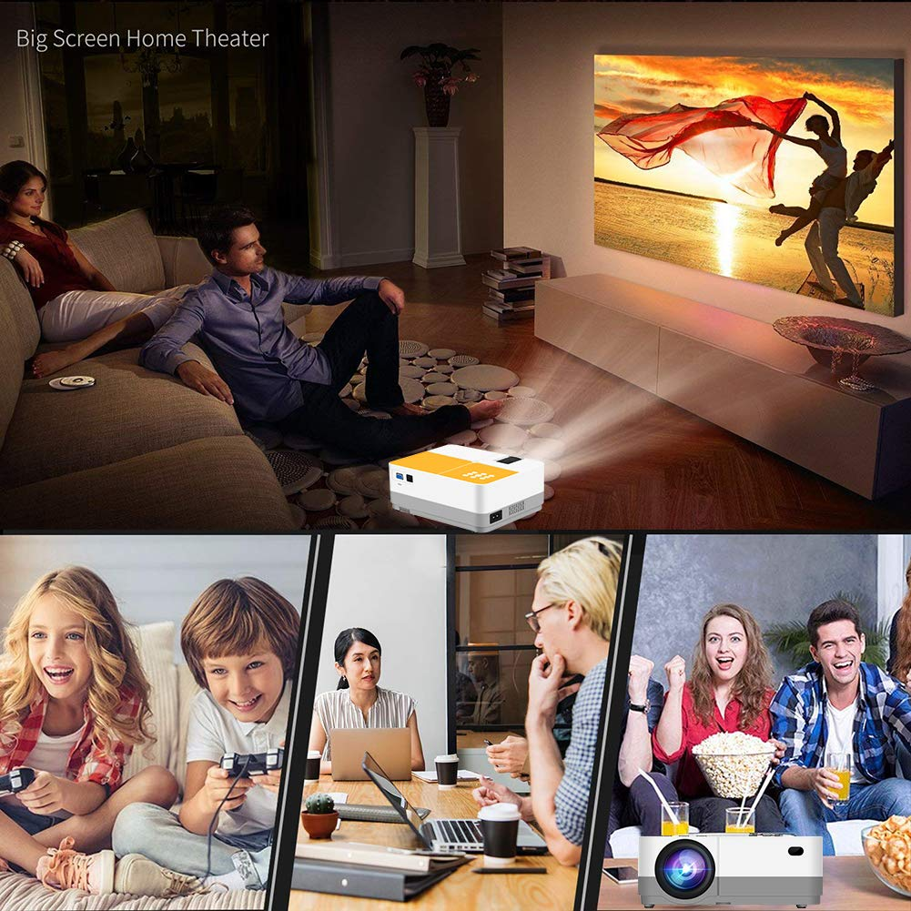 TUREWELL H3 Projector Video Projector 3600 Lumens Native 720P LCD Mini Projector 180'' 55000 Hours Support 2K HDMI/VGA/AV/USB/SD Card/Headphone Compatible with Fire TV Stick/Home Theater/PS4 by TUREWELL (Image #7)