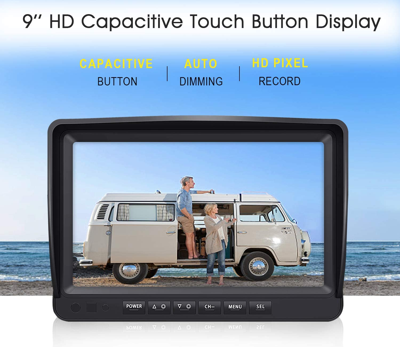 9/'/' LCD Wireless Monitor for RV//Truck//Trailer//Bus//Pickup//Van-W904 ZEROXCLUB Digital Wireless Backup Camera System Kit,HD1080P Wireless Reverse Rear Side View Camera,No Interference,IP69 Waterproof