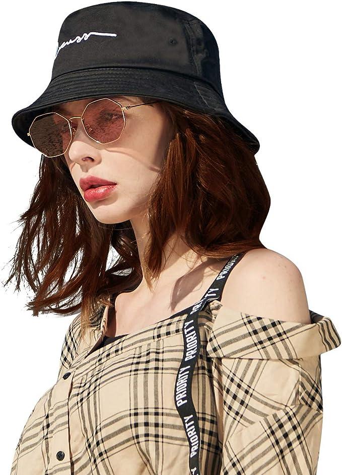 CACUSS Unisex Bucket Hat 100/% Cotton Fisherman Hat Women Packable Summer Travel Hat Men Comfy Sun Hat Fashion Outdoor Cap