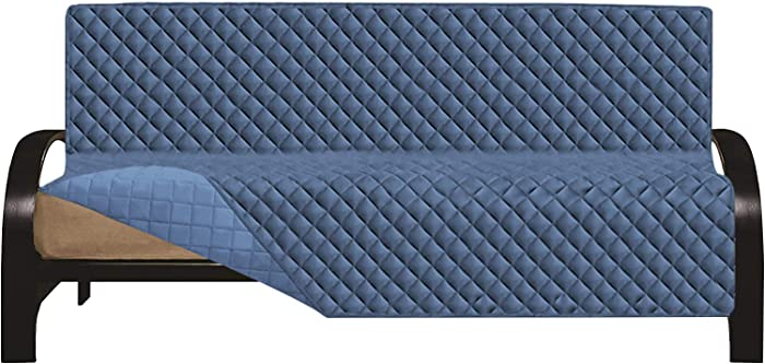 Easy-Going Futon Cover Sofa Slipcover Reversible Sofa Cover Furniture Protector Couch Cover Water Resistant Pets Kids Children Dog Cat (Futon, Dark Blue/Light Blue)