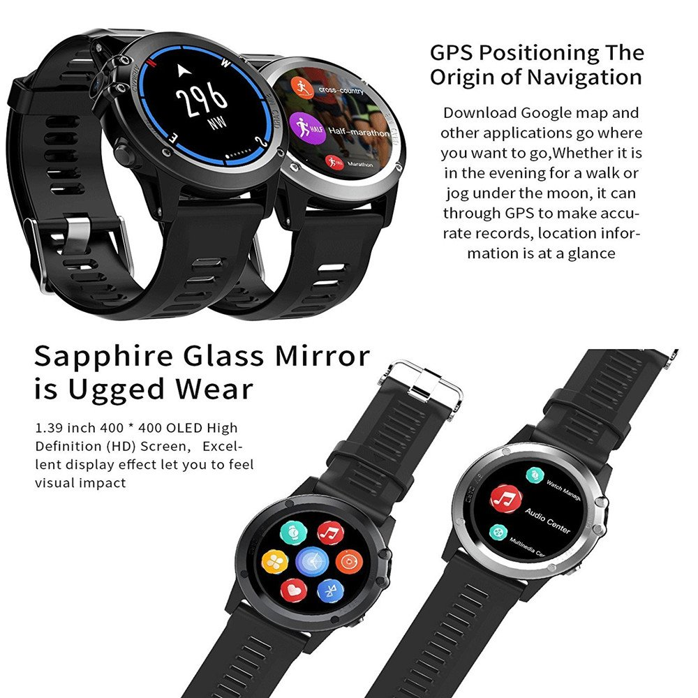 Amazon.com: H1 Smart Watch MTK6572 IP68 Waterproof 1.39inch 400400 GPS Wifi 3G Heart Rate Monitor 4GB+512MB For Android IOS Camera 500W (silver): Cell ...