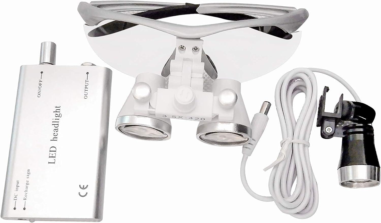 Global-Dental Portable 3.5X 420mm Surgical Binocular Loupes Optical Glass+LED Headlight Sliver