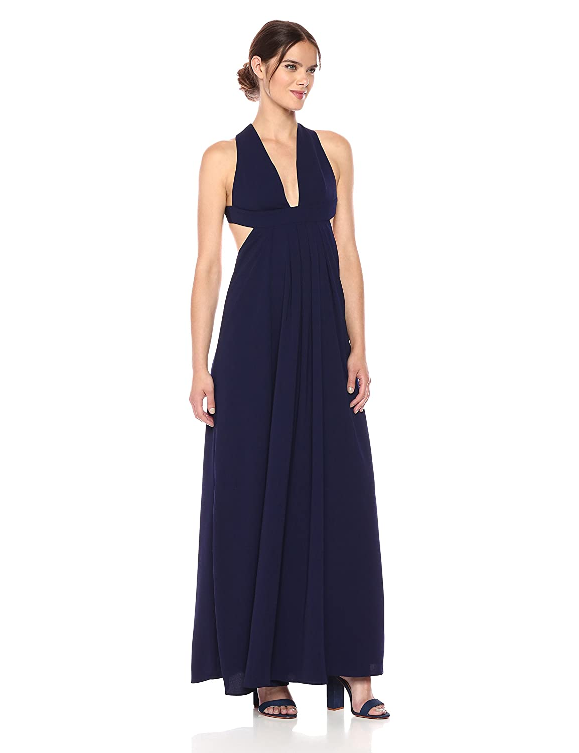 Deep purple Jill Jill Stuart Women's Plunging Neck Side Cutout 2Ply Crepe Gown