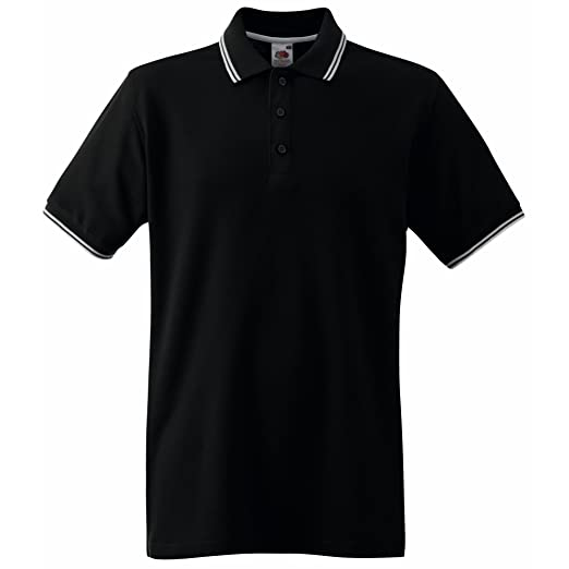 Fruit Of The Loom Mens Tipped Short Sleeve Polo Shirt (S) (Black/