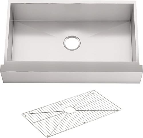 KOHLER 3936-NA Vault TM 29-1 2 x 21-1 4 x 9-5 16 Under-Mount Single-Bowl, Stainless Steel with Short Apron for 30 Cabinet Kitchen Sink, 30 Inch