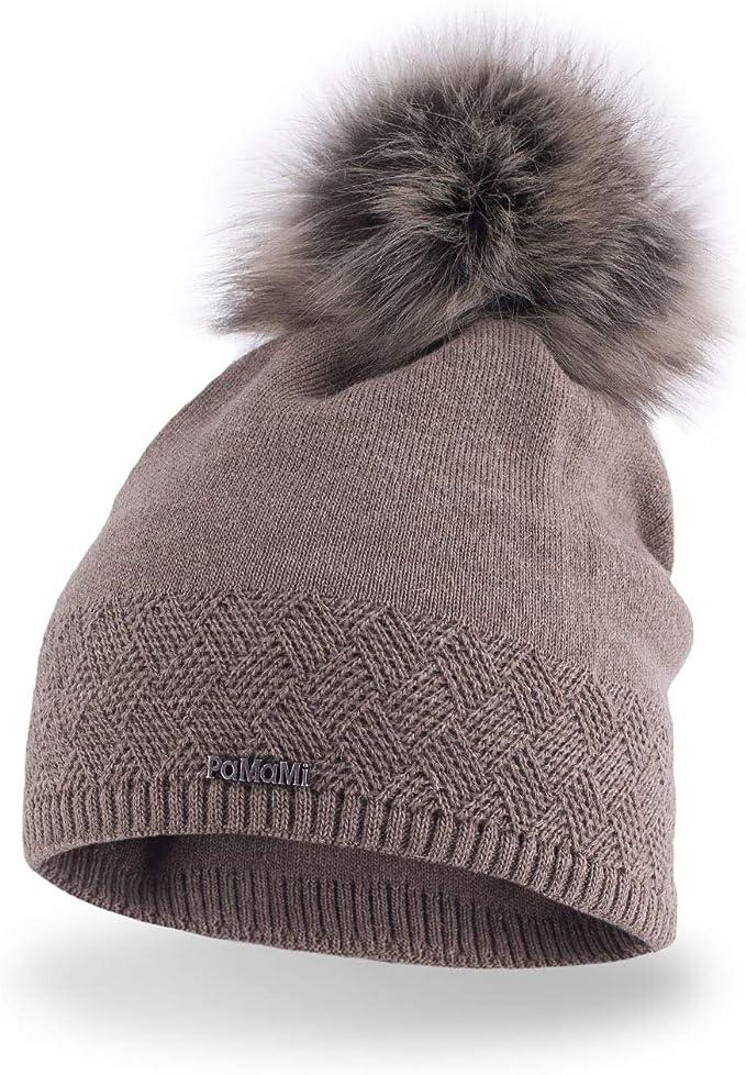 Femmes en tricot de laine Ski Beanie Chapeaux pour femmes avec grande fausse fourrure Pom Pom