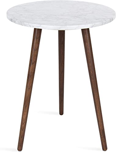 Kate and Laurel Byars Modern Round Tripod Side Table Walnut Brown Wooden Legs and White Marble Top