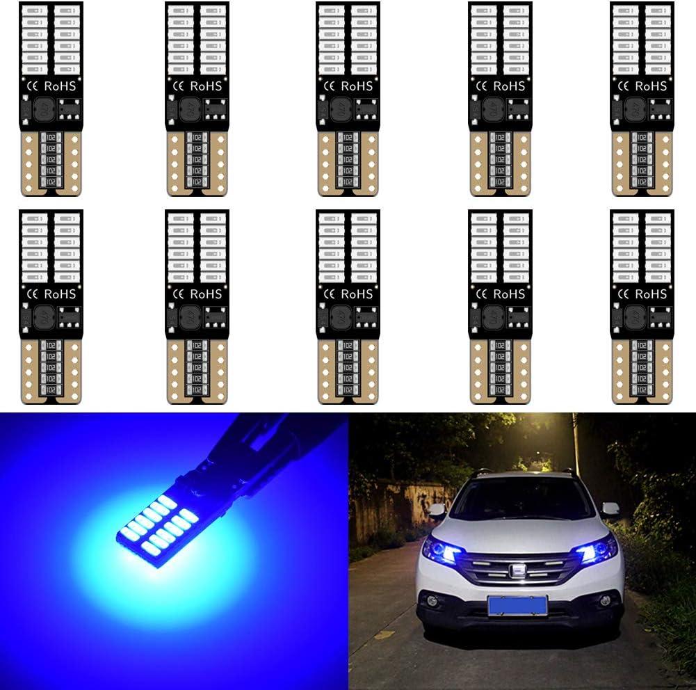 blanc pour lavant de la voiture Lot de 2/ampoules LED KaTur 800/lumens 5/W la porti/ère la plaque dimmatriculation 4014 24 SMD T10 W5W 2825 168 sans erreurs