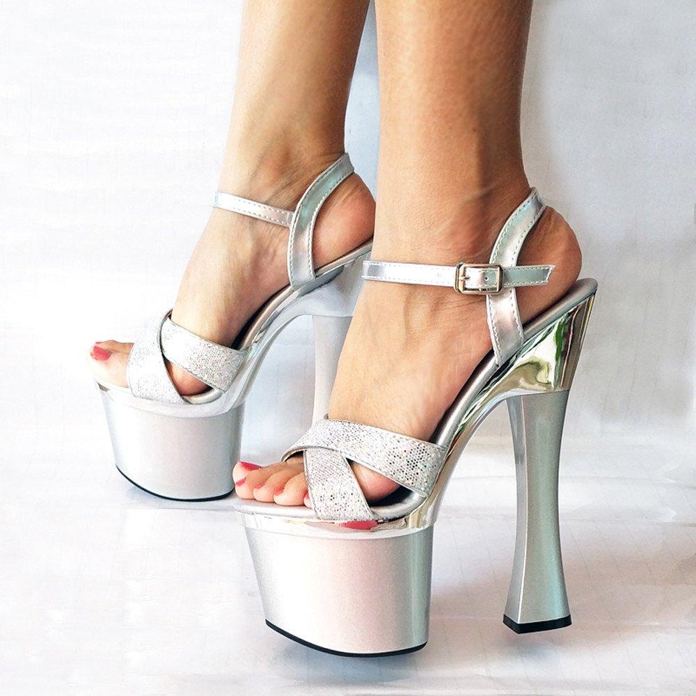 Ajunr Modische/Arbeit/Damen/Sandaleetten sexy grob schuhe nachtclub 18cm super-high-heels hochzeit schuhe