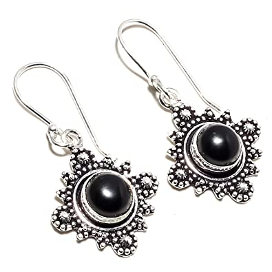 9da8ce97226 Buy Beautiful Black Onyx Gemstone Earring Handmade 925 Sterling Silver  Plated Jewelry -Dangle and Drop Earring -(SF-2545) Online at Low Prices in  India ...