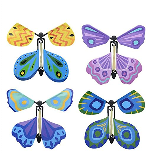 10Pcs Fake Butterfly Card Rubber Band Wind Up Toys A# Flying Fairy Surprise Box Birthday Party Gift Decoration ORNOOU Magic Fairy Flying Butterfly