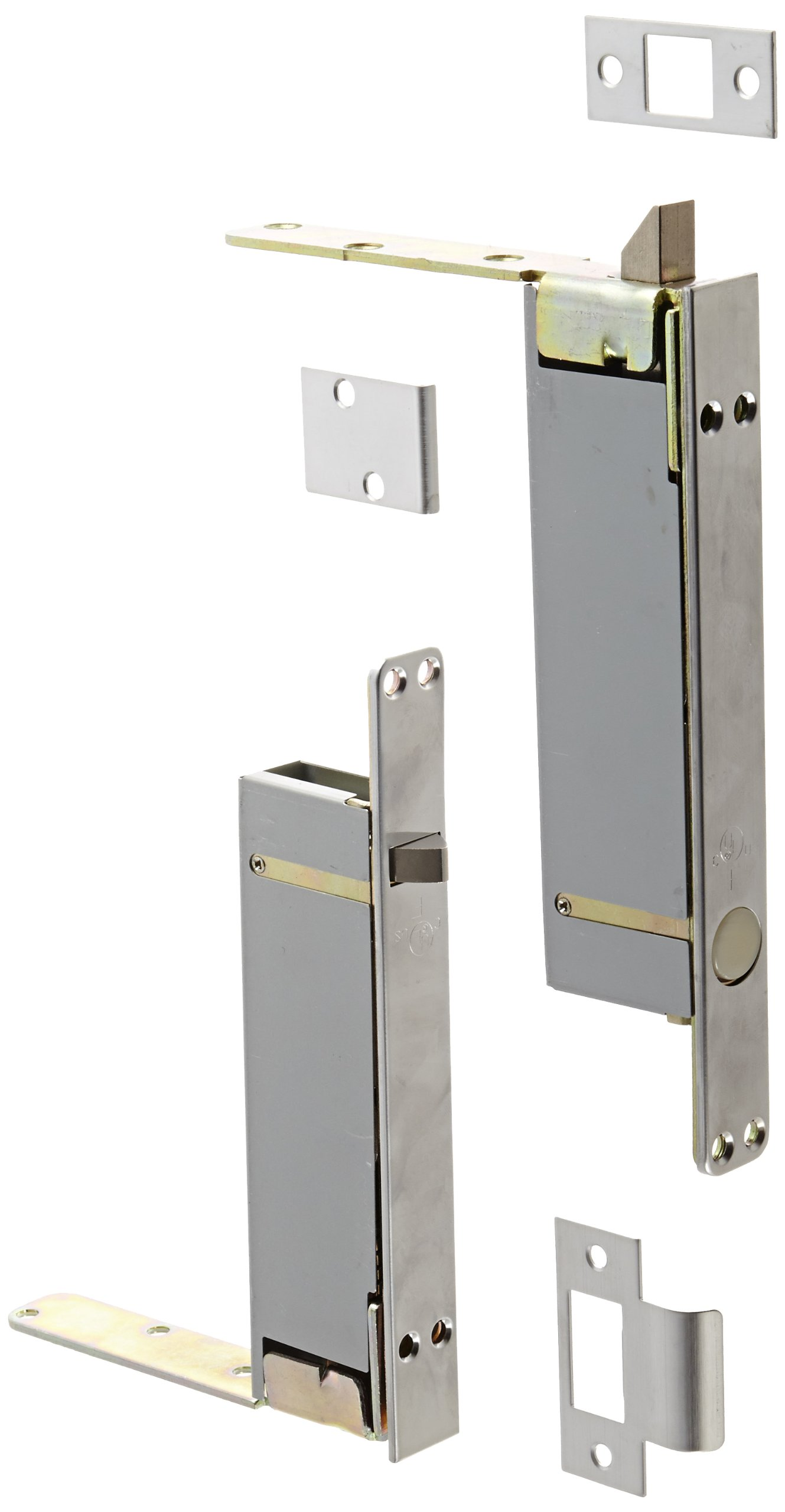 Rockwood 2945.26D Combination Flush Bolt Set for Wood or Plastic Covered Composite Type Fire Doors, 1'' Width x 8-1/2'' Height, Brass Satin Chrome Plated Finish