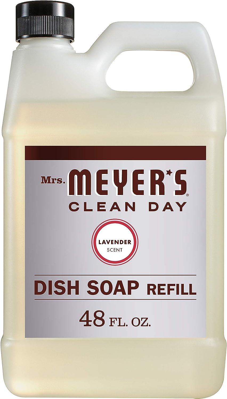 Mrs. Meyer's Clean Day Liquid Dish Soap Refill, Cruelty Free Formula, Lavender Scent, 48 oz