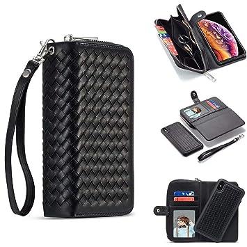 c9cc8c290b 編み込み iPhoneXS Max iPhoneXR ケース 手帳 財布型 お財布付き ウォレットケース メッシュレザー アイフォン