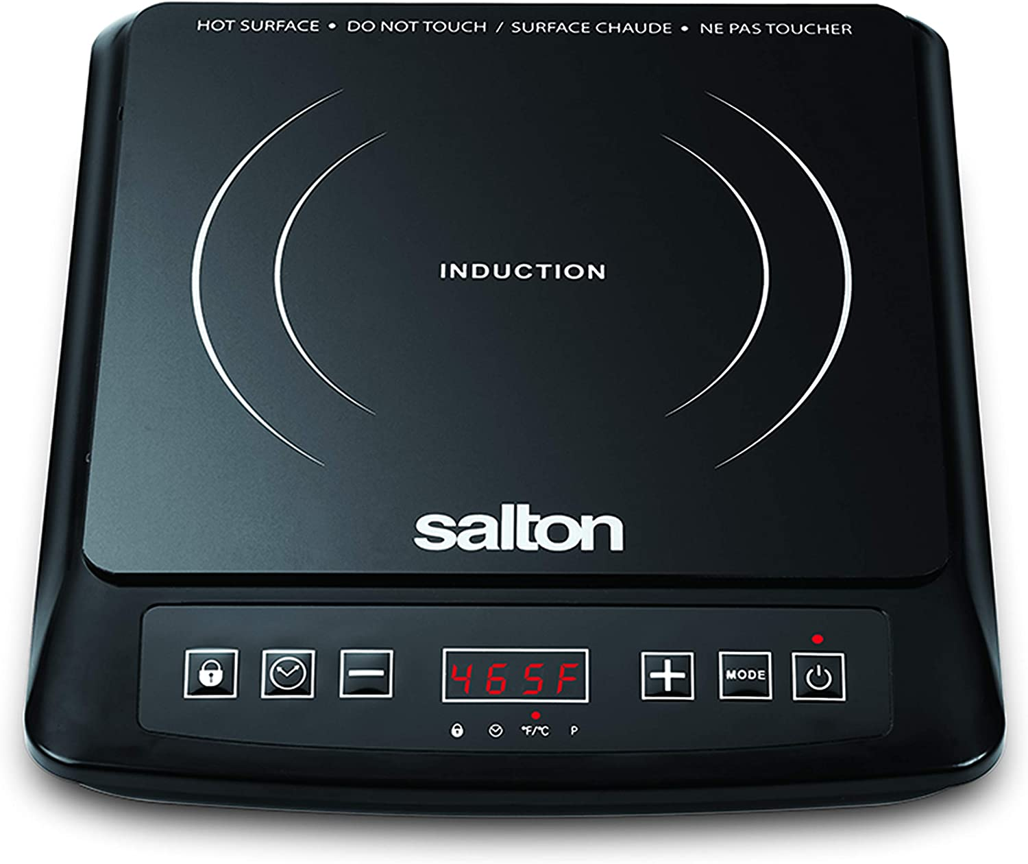 Salton Portable Induction Cooktop Cool Touch LED Display Cooker with 8 Temperature Settings for Precise Control, Energy Efficient Green Cooking with Magnet Induction Tester Included, 1500 Watts (ID1948)