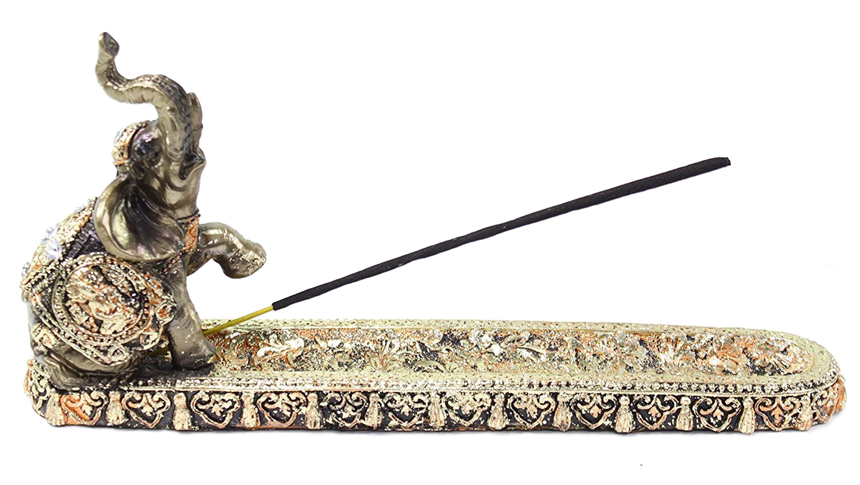 Gold Thai Elephant Buddha Wraps Incense Burner Holder Lucky Figurine Home Decor Gift (G16555) Feng Shui Idea ~ We Pay Your Sales Tax