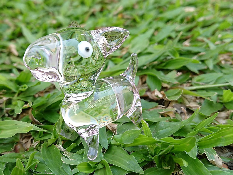 Light Pink Sansukjai Cartoon Dog Miniature Figurines Hand Blown Glass Art Animal Collectible Dog-Lover Gift Home Decor