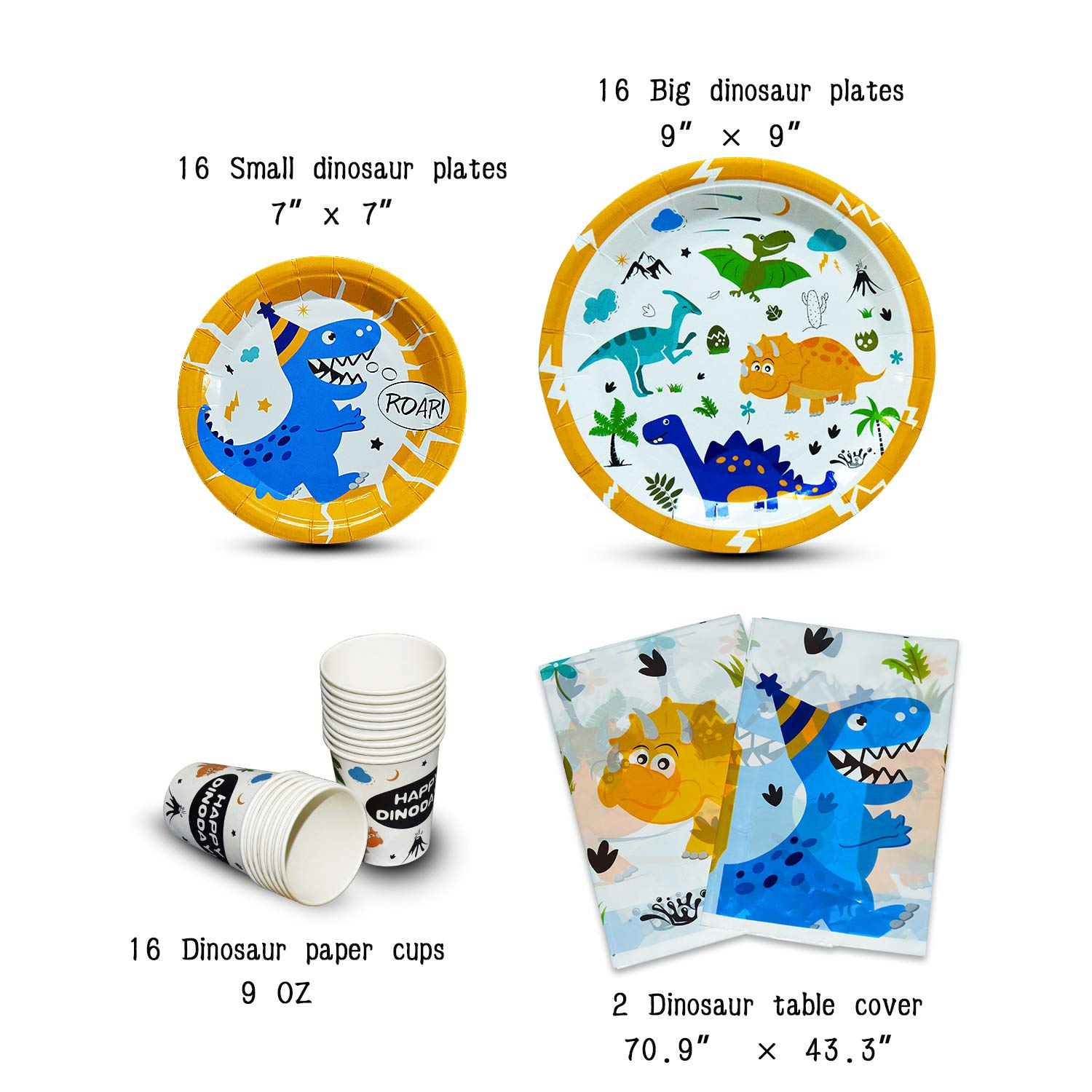 WERNNSAI Dinosaur Party Supplies Set - Dinosaur Themed Party Decoration for Boys Kids Birthday Cutlery Bag Table Cover Plates Cups Napkins Straws Utensils Banner & Balloons Serves 16 Guests 169 PCS by WERNNSAI (Image #4)