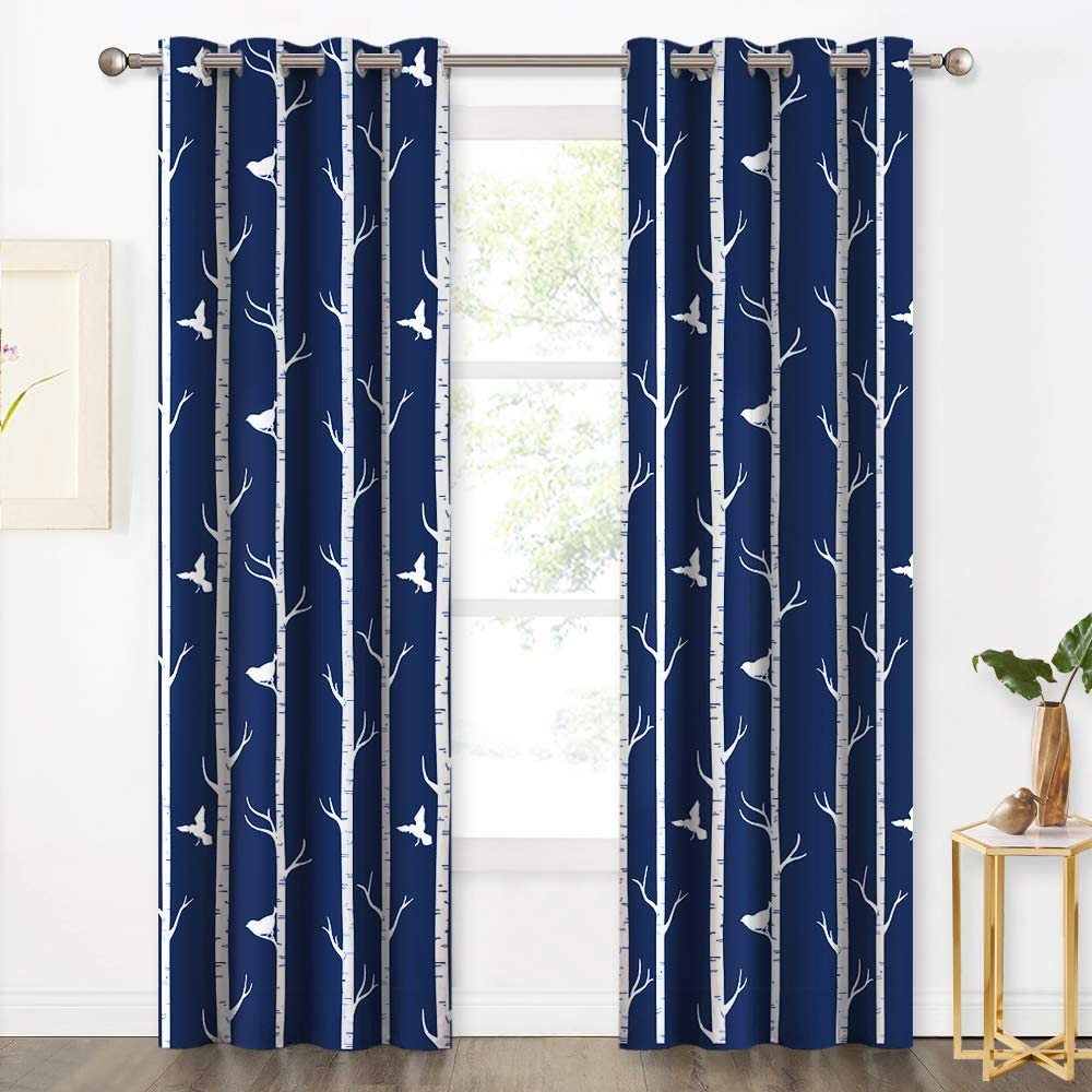 Set 2 Navy Blue Nature Bird Trees Curtains Panels Drapes 84 inch Room Darkening