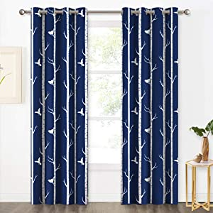 """KGORGE Country Style Curtain Panels - Two-Tone Birds & Tree Pattern Window Treatment Insulated Room Darkening Draperies Eyelet Top for Sliding Door/Living Room, 95"""" Long, 2 Pcs, Navy Blue"""