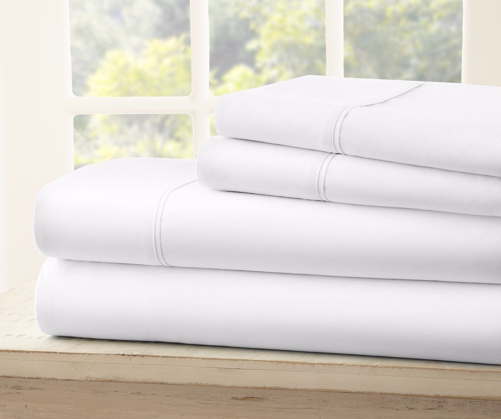 Royal Collection 1900 Split King Count Bamboo Quality Bed Sheet Set With 2 Twin XL Fitted,1 King Flat, 2 King Pillow Cases. Wrinkle Free Shrinkage Free, Deep Pockets (Split King, White)