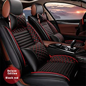 All Weather Custom Fit Seat Covers for BMW 3 4 5 6 7 X Z4 M Series 5-Seat Full Protection Waterproof Car Seat Covers Ultra Comfort with Headrest and Lumbar Cushion Luxury Package Black & Red Full Set