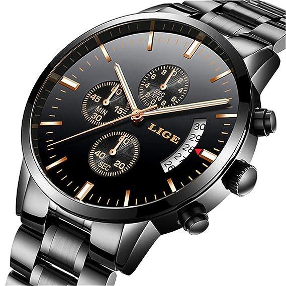 Relojes para Hombres, Impermeable Acero Inoxidable Reloj analógico de Cuarzo para Hombre Marca LIGE Vestido de Negocios Reloj de Pulsera Hombre Reloj ...