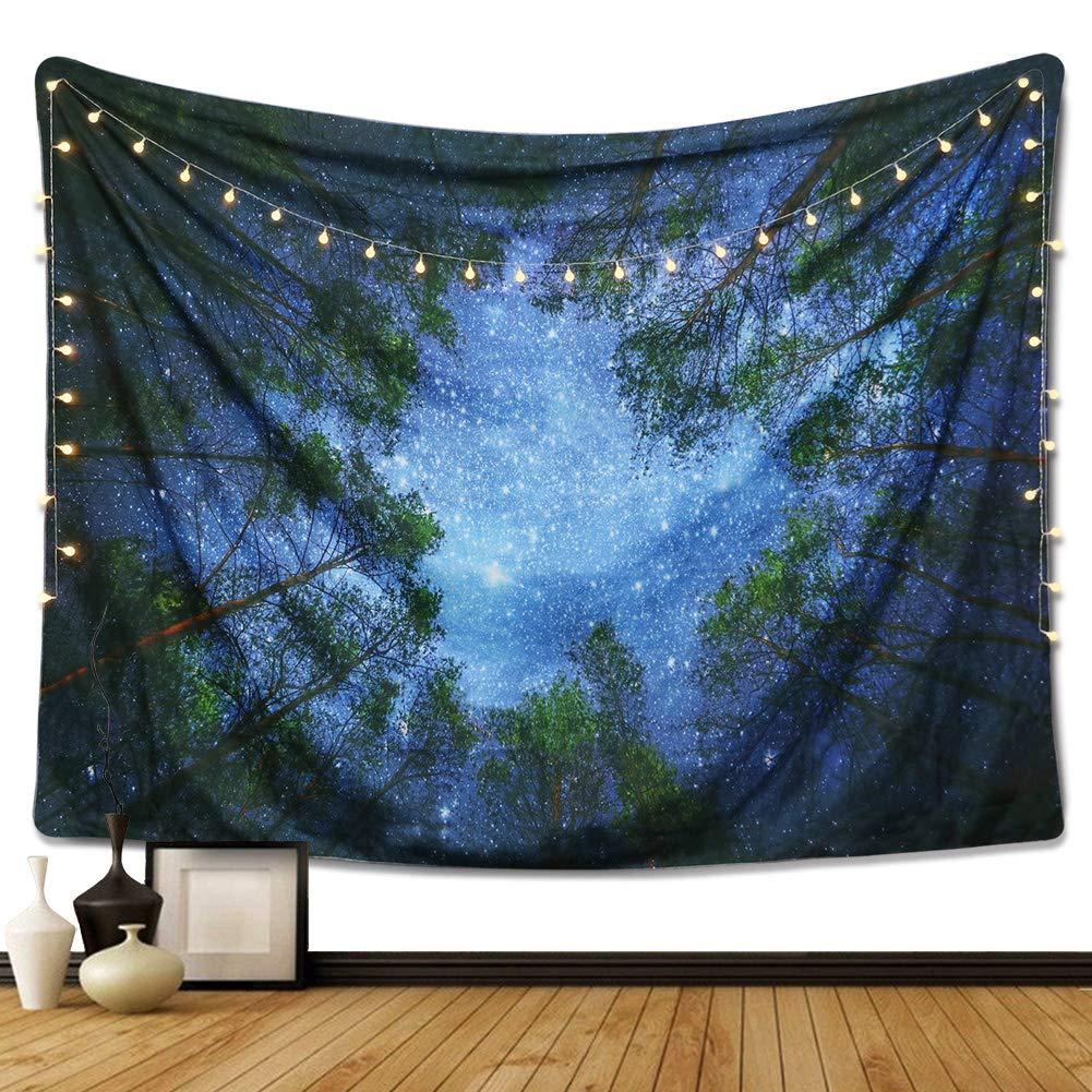 Night Sky and Tree Mandala Bohemian Tapestry Wall Hanging Indian Wall Art (M/ 80''x60'')