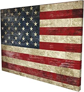 MSGUIDE Old Vintage American Flag Wall Decor Modern Abstract Landscape Framed Canvas Prints Artwork Wall Art for Bathroom Bedroom Kitchen Rustic Home Decor 16x12 Inch