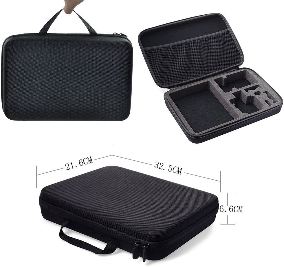 Carrying Case for GoPro Hero Cameras Water Resistant Exterior Black Zippered Double Mesh Storage Pocket Shockproof EVA Foam Interior