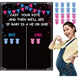 Happy Storm Gender Reveal Party Games Poster Gender Reveal Party Supplies Gender Reveal Voting Game Poster with Voting Stickers Gender Reveal Games Kit Baby Gender Reveal Party Decorations Accessories