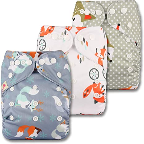 Fastener: Popper with 3 Bamboo Charcoal Inserts Reusable Pocket Cloth Nappy Set of 3 Littles /& Bloomz Patterns 319
