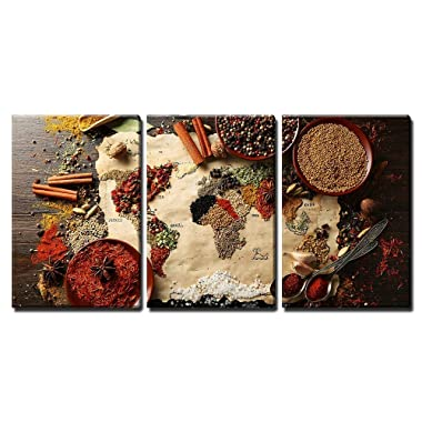 wall26 - World MAPE Made from Spices - Canvas Art Wall Decor - 16 x24 x3 Panels