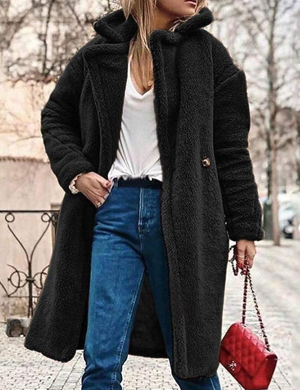 wekold Women Winter Warm Notched Collar Button Artificial Fur Coat Outwear Faux Leather