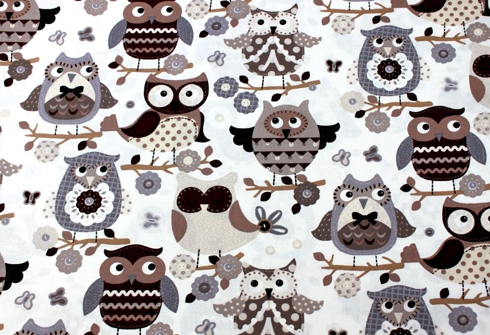 Tessuto Gufi Ecru Marrone | 100% puro cotone | altezza: 160 cm (1 metro) Textiles français