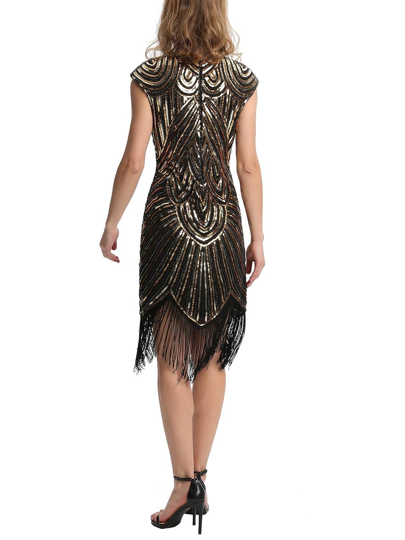 Elsa /& Martin Frauen 20er Jahre Flapper Perlen Fransen Gatsby Kleid f/ür 1920 Party Cocktail