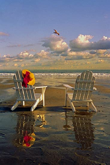 Chairs In Water   Image Only   Adirondack Chairs On The Beach (9x12 Art  Print