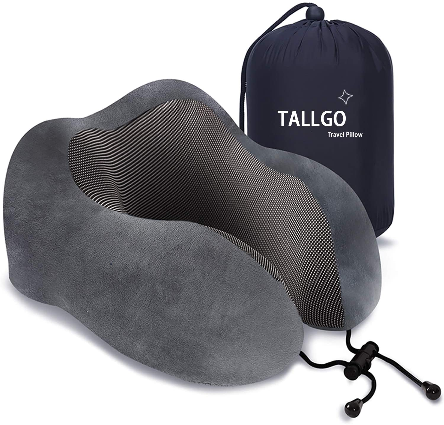 Travel Pillow, Best Memory Foam Neck Pillow Head Support Soft Pillow for Sleeping Rest, Airplane Car & Home Use (Grey)