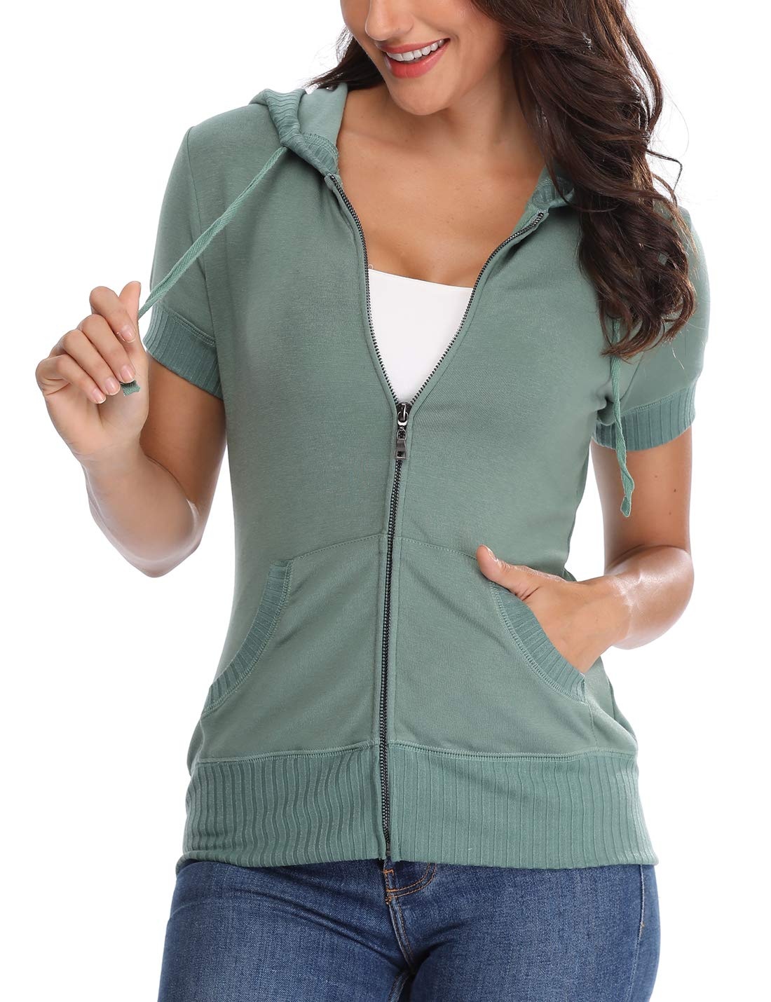 MISS MOLY Hoodie Zip up Short Sleeve Jacket for Women Round Neck Summer Coat (Light Green, Medium/US-10)