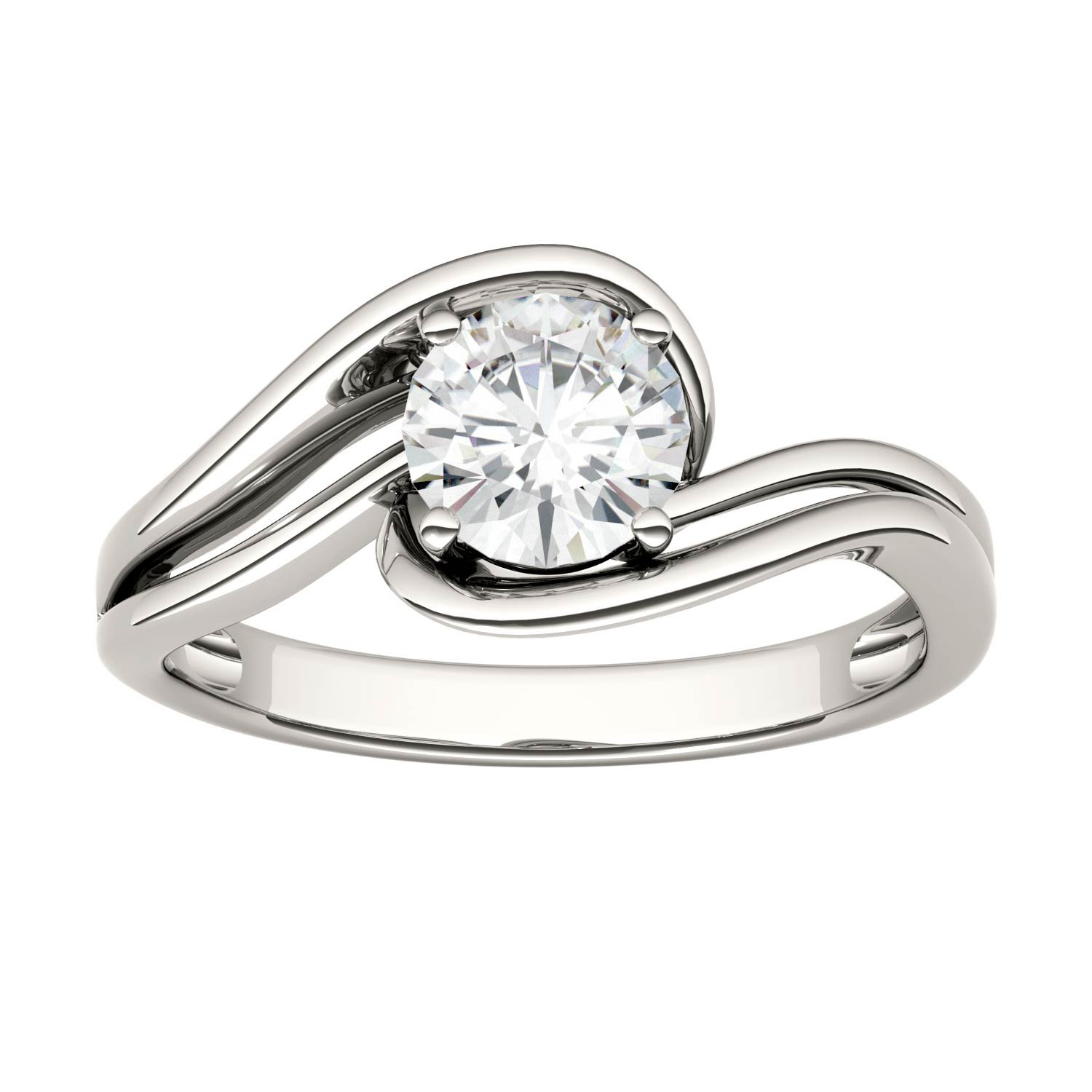 Forever Classic Round 6.0mm Moissanite Engagement Ring-size 5, 0.80ct DEW By Charles & Colvard
