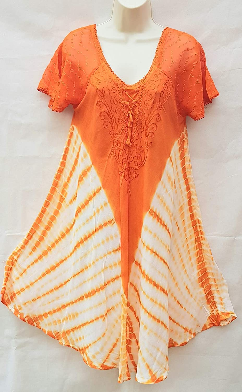 NikSim Collection orange red Embroidered Corset Bodice Long Sleeveless Floral Caftan Dress//beach Cover Up