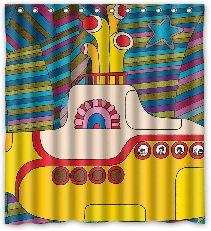 Cloud Dream Yellow Submarine Funny Art Decor Shower Curtain,Waterproof and Mildewproof Polyester Fabric Bath Curtain Design,60x72-Inch