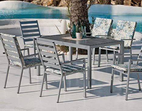 Hévéa Mesa y sillones aluminio 6 personas zafiro, gris ...