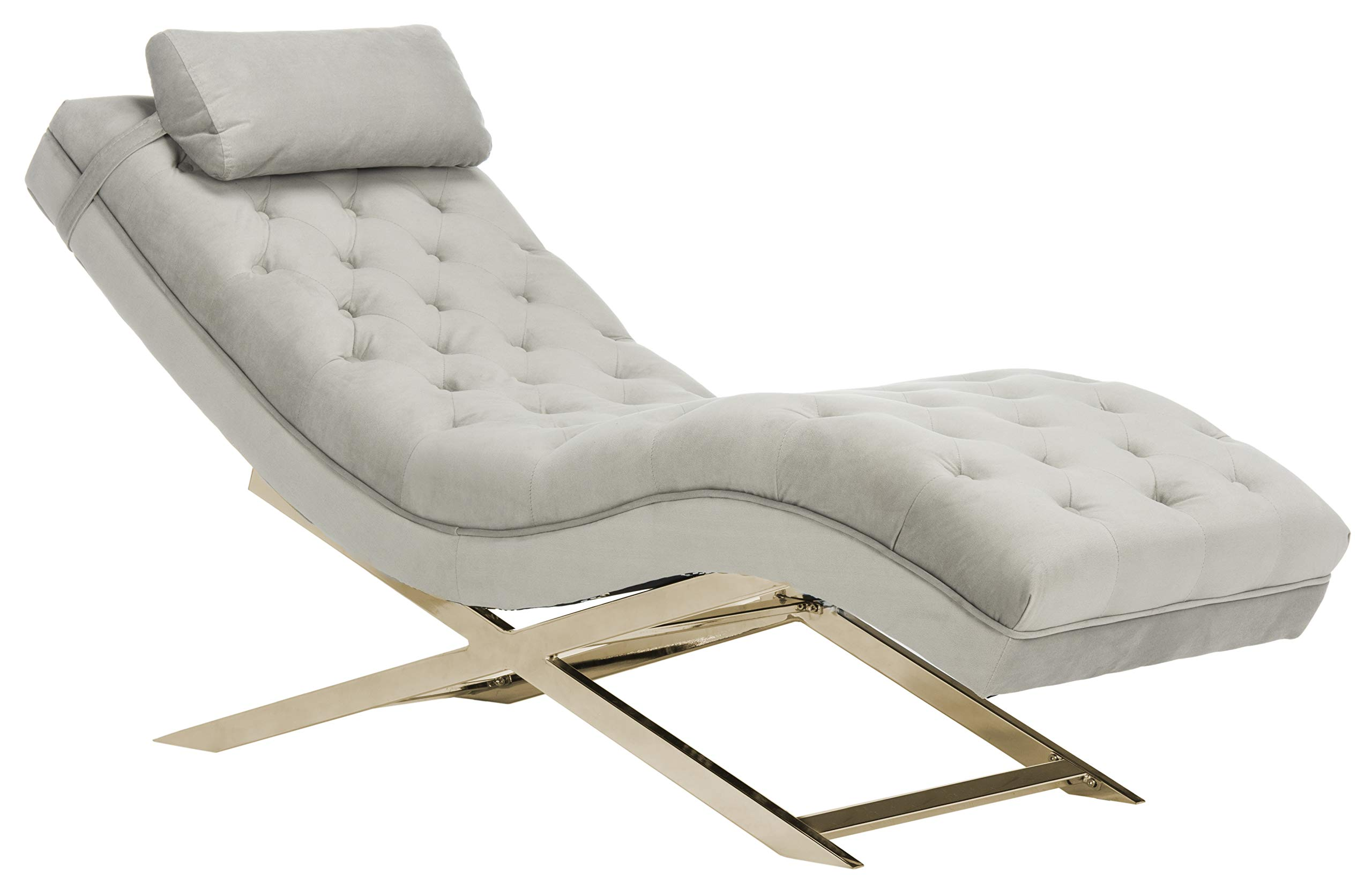 Safavieh Home Collection Monroe Grey Chaise, Gold by Safavieh