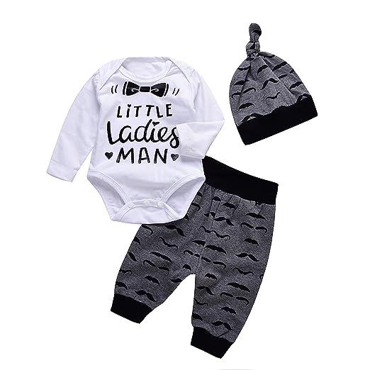 3164e79e3bc Mekilyn 3pcs Newborn Baby Boy Girls Tie Letters Print Romper+Beard Long  Pant+Hat