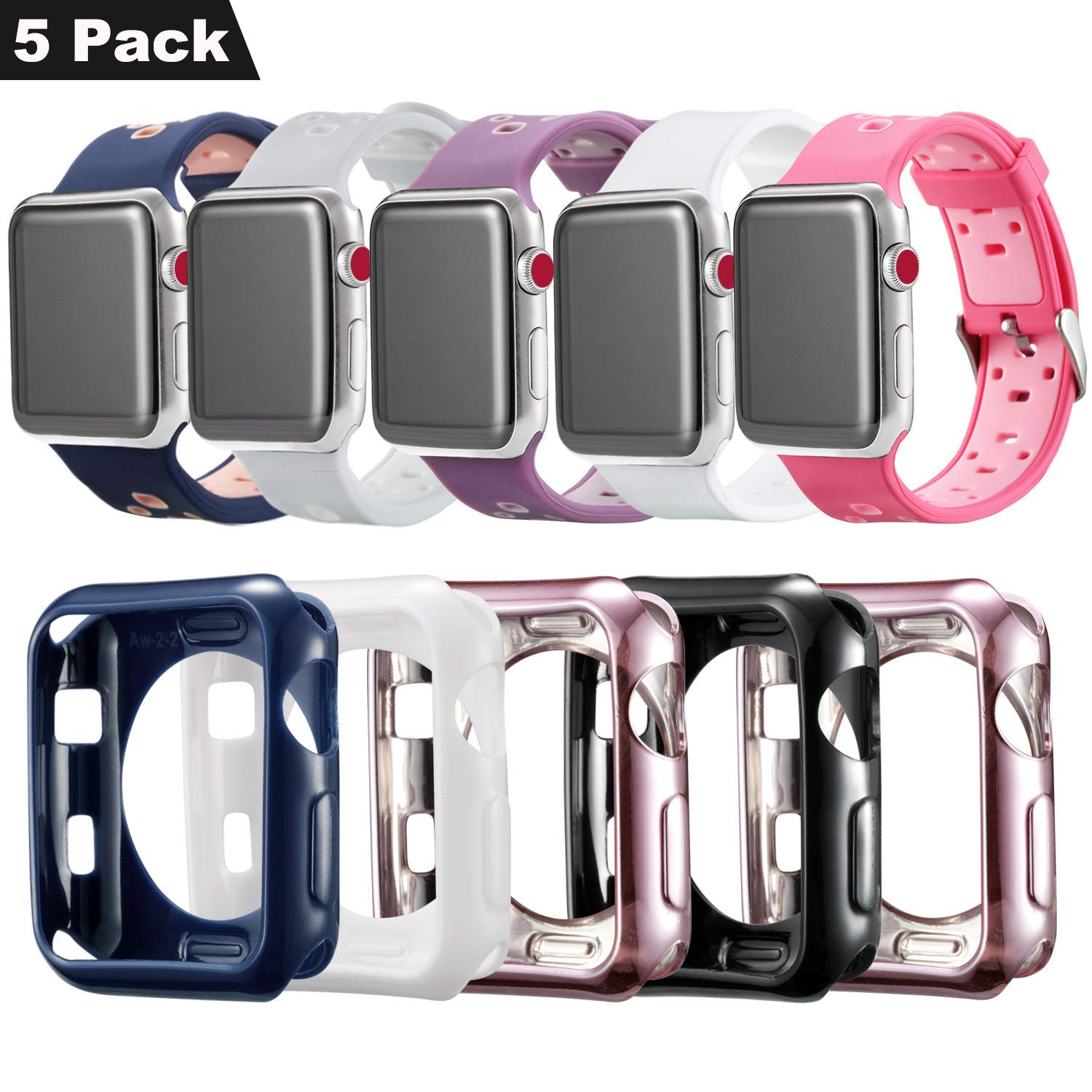 Compatible Apple Watch Band with Case 38mm [5 Pack], MAIRUI Protective Case Bumper Cover Silicone Replacement for Apple Watch Series 3/2/1, iWatch Sport/Edition/Nike+ by MAIRUI