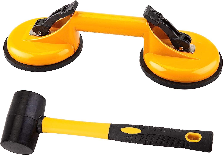 Floor Gap Fixer Tool for Laminate Floor Gap Repair Include Premium Quality Heavy Duty Aluminum Suction Cup and Fiberglass Handle Rubber Mallet (Yellow)